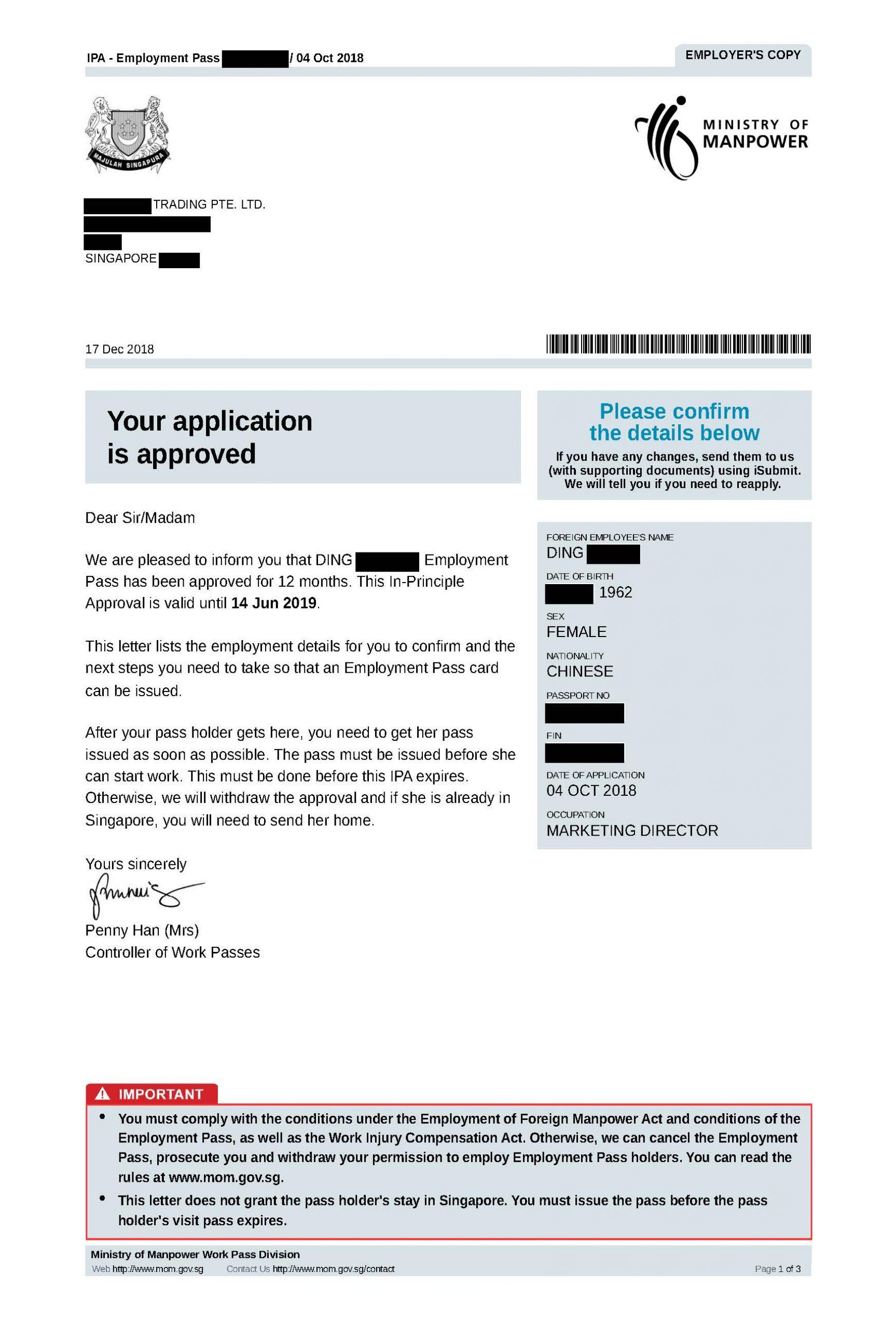 Approval letter Ding